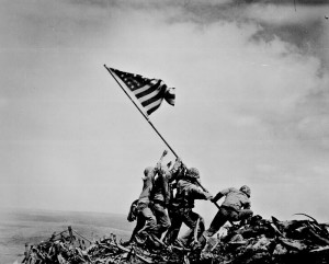 """Flag raising on Iwo Jima."" Joe Rosenthal, Associated Press, February 23, 1945."